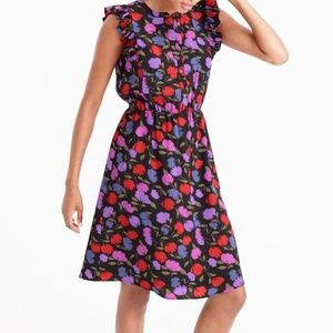 NWT JCrew Floral Flutter Sleeve Silk Dress - SZ 2